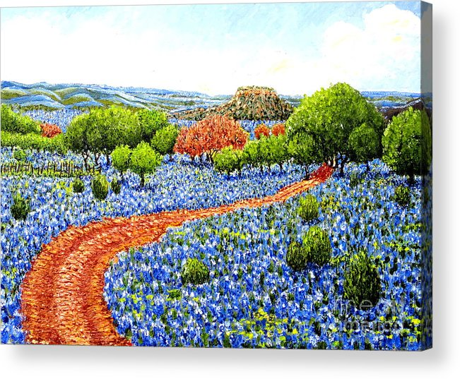 Texas Acrylic Print featuring the painting Bluebonnets Across Texas by Santiago Chavez