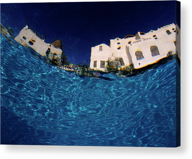 Accommodation Acrylic Print featuring the photograph Blurred View Of A Hotel From Underwater by Sami Sarkis