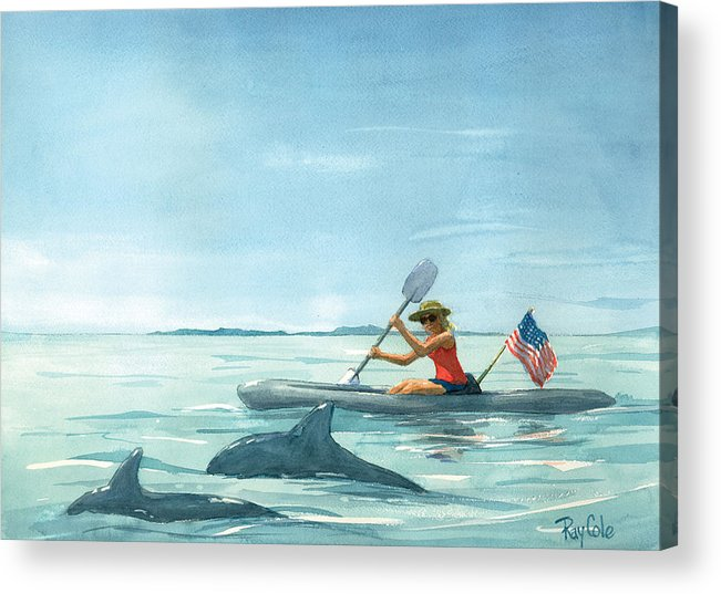 Ocean Acrylic Print featuring the painting Boating Dolphin by Ray Cole