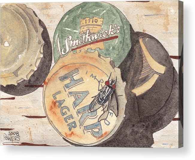 Bottle Acrylic Print featuring the painting Bottlecaps And Barfly by Ken Powers