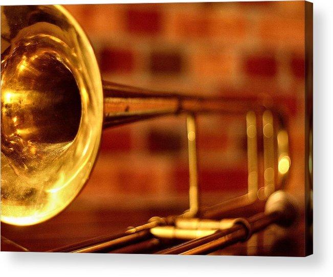 'music Acrylic Print featuring the photograph Brass Trombone by David Hubbs