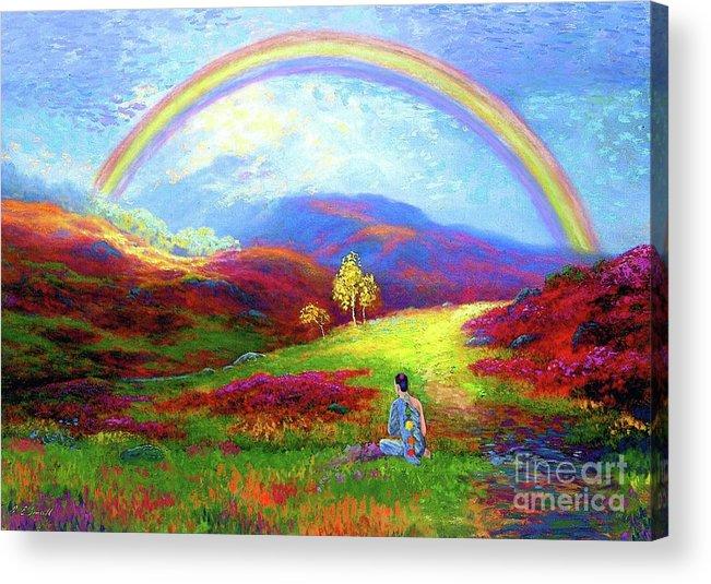 Meditation Acrylic Print featuring the painting Buddha Chakra Rainbow Meditation by Jane Small