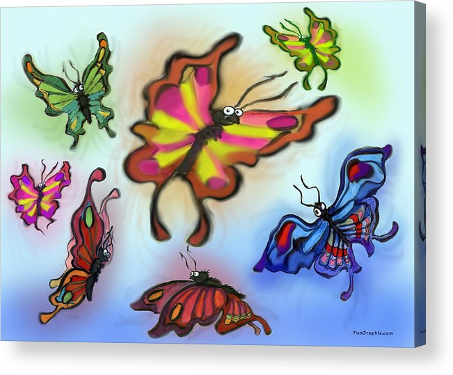 Butterfly Acrylic Print featuring the digital art Butterflies by Kevin Middleton