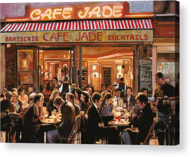 Brasserie Acrylic Print featuring the painting Cafe Jade by Guido Borelli