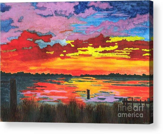Original Painting Acrylic Print featuring the painting Carolina Sunset by Patricia Griffin Brett