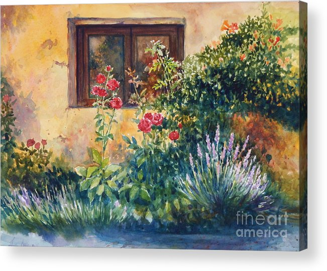 Roses Acrylic Print featuring the painting Casale Grande Rose Garden by Ann Cockerill