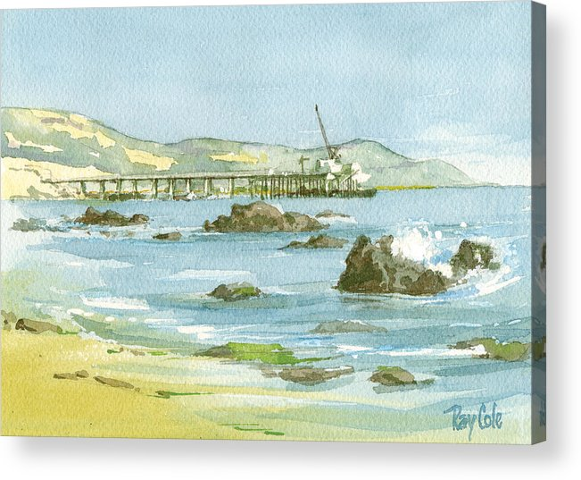 Casitas Pier Acrylic Print featuring the painting Casitas Pier II by Ray Cole