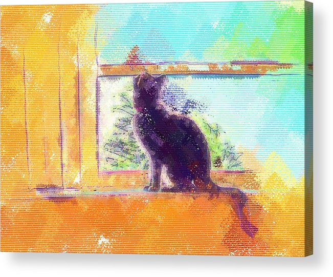 Cat Acrylic Print featuring the digital art Cat Looking Out The Window by Nora Martinez