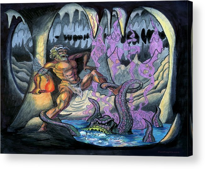 Cave Acrylic Print featuring the painting Cave Creature by Kevin Middleton