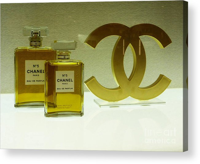 Chanel Acrylic Print featuring the photograph Chanel No 5 With Cc Logo by To-Tam Gerwe