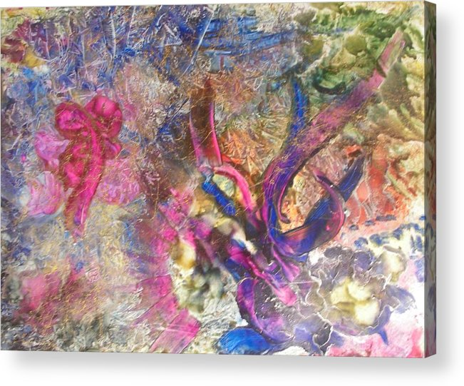 Encaustic Acrylic Print featuring the painting Christmas Ribbons by John Vandebrooke