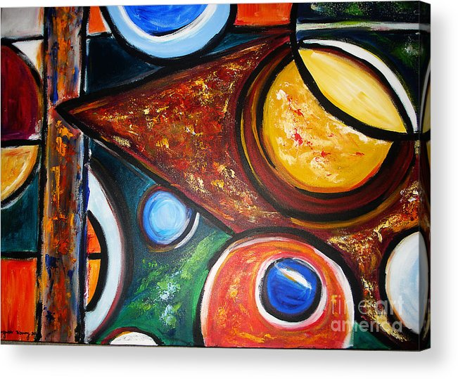 Abstract Painting Acrylic Print featuring the painting Circles Of Life by Yael VanGruber