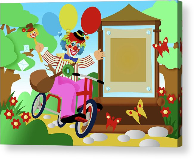 Clown Acrylic Print featuring the digital art Clown Greeting by Stet Mihail Angelo