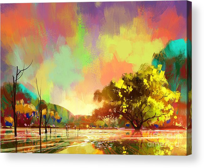 Painting Acrylic Print featuring the painting Colorful Natural by Tithi Luadthong