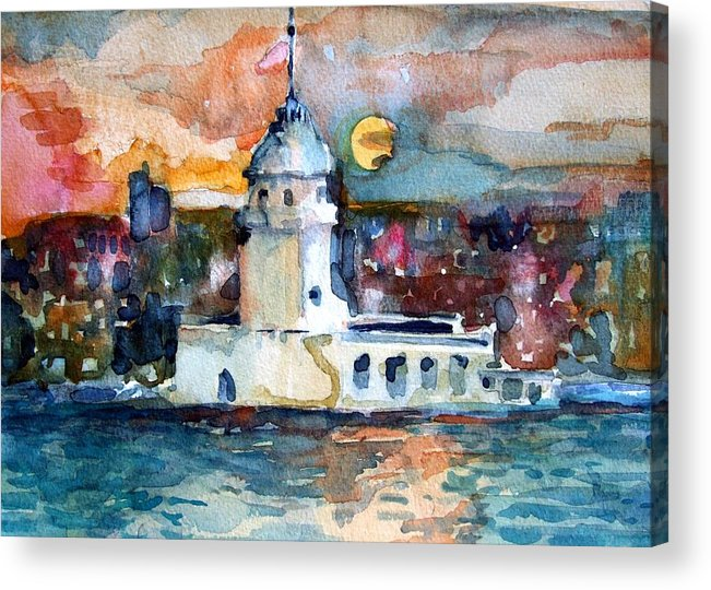 Constantinople Acrylic Print featuring the painting Constantinople Turkey by Mindy Newman