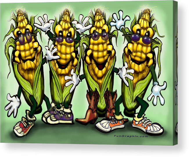 Corn Acrylic Print featuring the digital art Corn Party by Kevin Middleton