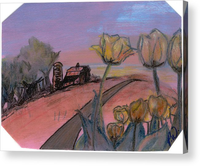 Watercolor Pencils Acrylic Print featuring the drawing Country Road by Pamela Wilson