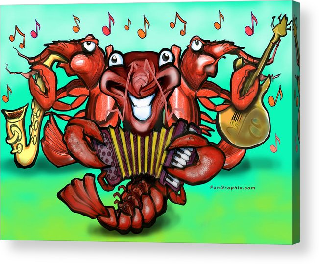 Crawfish Acrylic Print featuring the greeting card Crawfish Band by Kevin Middleton