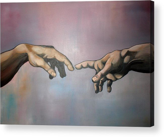 Creation Of Adam Acrylic Print featuring the painting Creation by Brent Jones