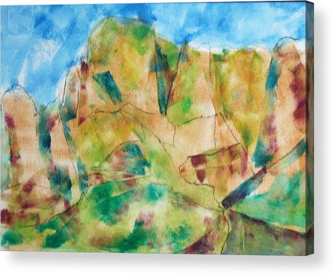 Landscape Acrylic Print featuring the painting Crystal Catalina by Mordecai Colodner