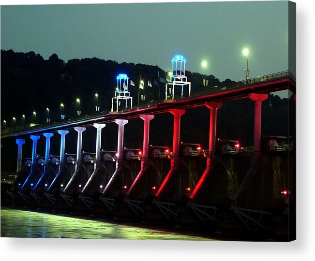 Bridge Acrylic Print featuring the photograph Damm River Bridge by Kenna Westerman