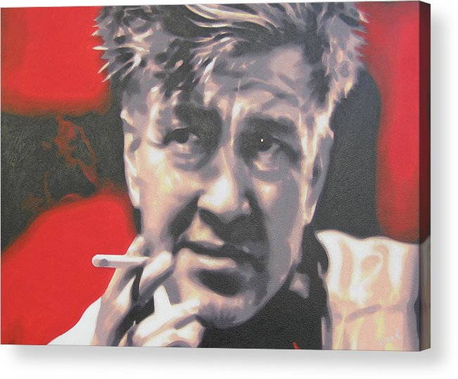 Laura Palmer Acrylic Print featuring the painting David Lynch by Luis Ludzska