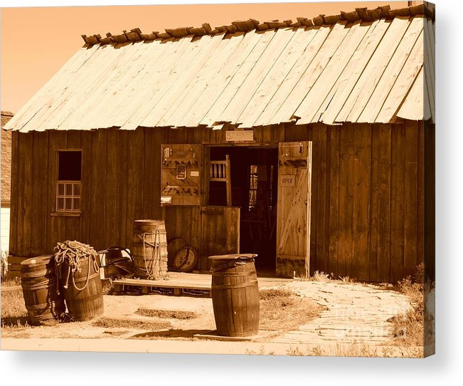 Sepia Acrylic Print featuring the photograph Dinwoodey Cabinet And Chair Shop by Dennis Hammer
