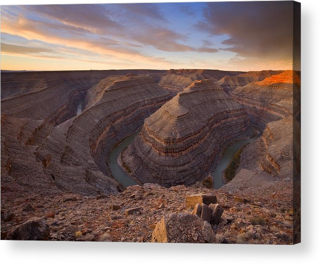 Goosenecks State Park Acrylic Print featuring the photograph Doubleback by Mike Dawson