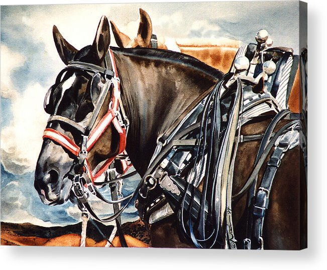 Horse Acrylic Print featuring the painting Draft Mules by Nadi Spencer