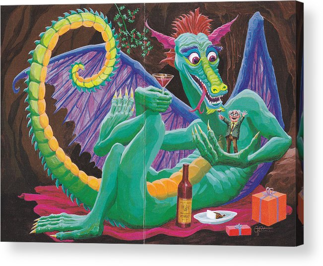 Acrylic Print featuring the drawing Dragon Sups by Charles Cater