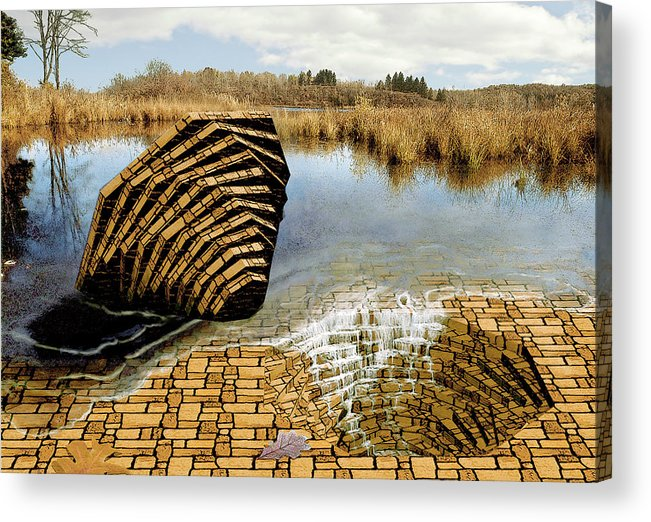Drain Acrylic Print featuring the digital art Drain - Mendon Ponds by Peter J Sucy