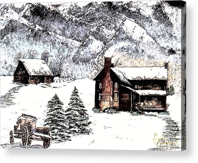 Landscape Acrylic Print featuring the painting Early Snowfall by Penny Everhart