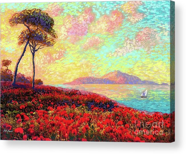 Wildflower Acrylic Print featuring the painting Enchanted By Poppies by Jane Small