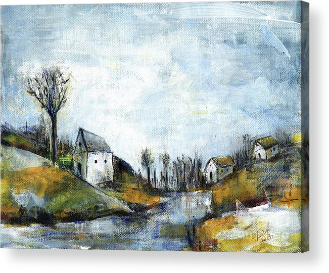 Landscape Acrylic Print featuring the painting End Of Winter - Acrylic Landscape Painting On Cotton Canvas by Aniko Hencz
