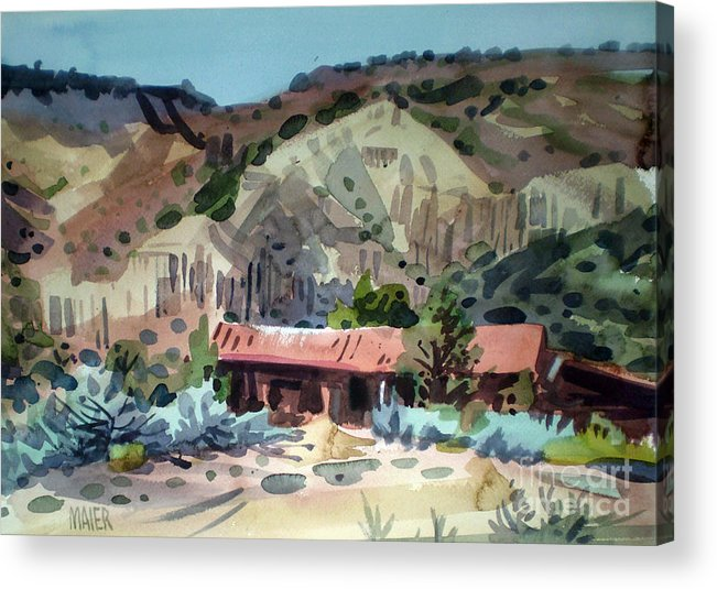 New Mexico Acrylic Print featuring the painting Espanola On The Rio Grande by Donald Maier