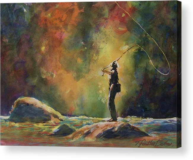 This Is An Original That Has Been Sold. \evening Cast\ Hangs In A Beautiful Home And Is Loved By Any Fisherman Acrylic Print featuring the painting Evening Cast by Therese Fowler-Bailey