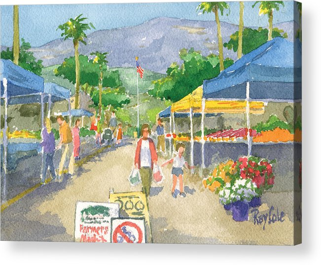 Carpinteria Farmers Market Acrylic Print featuring the painting Farmers Market by Ray Cole