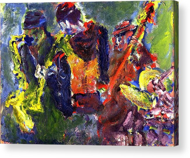 Live Jazz Quartet Acrylic Print featuring the painting Faruq And Skeeter by Don Thibodeaux