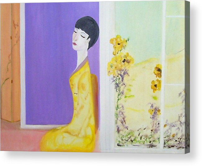 Oriental Lady Acrylic Print featuring the painting Femme En Jaune by Michela Akers