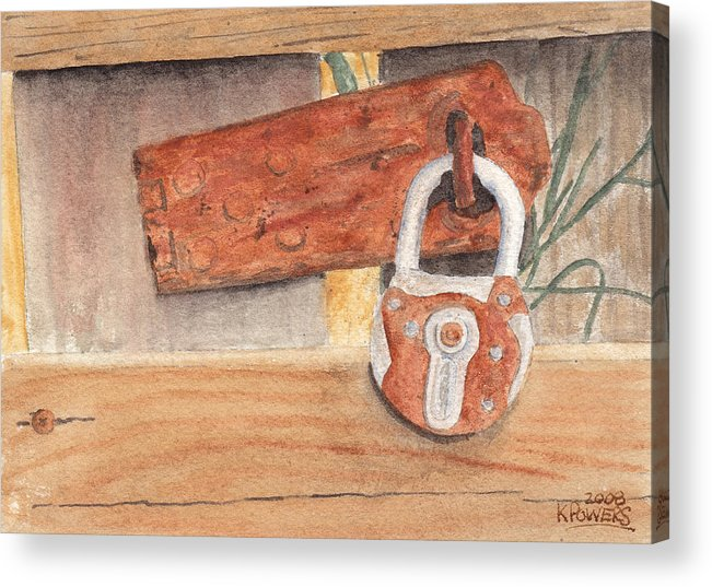 Fence Acrylic Print featuring the painting Fence Lock by Ken Powers