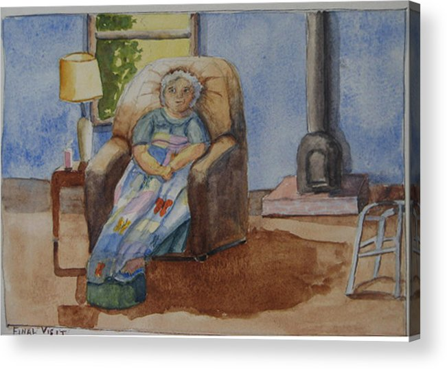 Figure Acrylic Print featuring the painting Final Visit by Libby Cagle