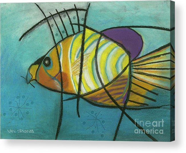 Australian Art Acrylic Print featuring the drawing Fishfish by Patty Van Sprang