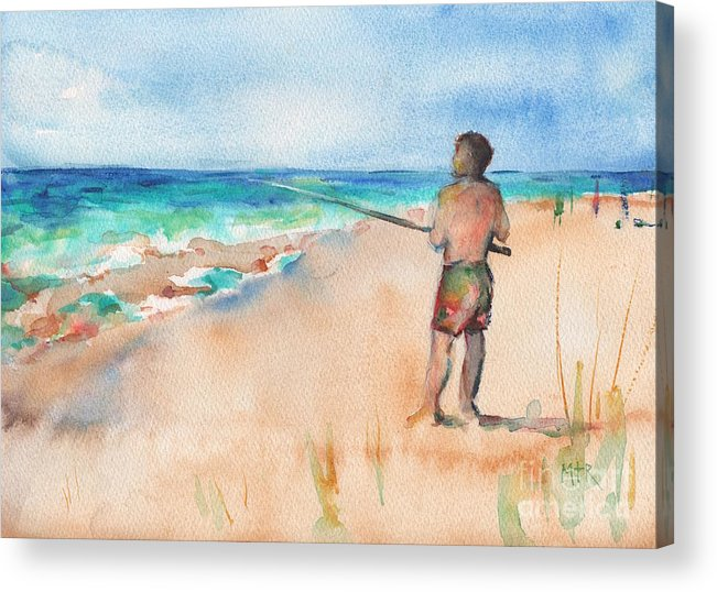 Fishing Acrylic Print featuring the painting Fishing At The Beach Watercolor by Maria Reichert