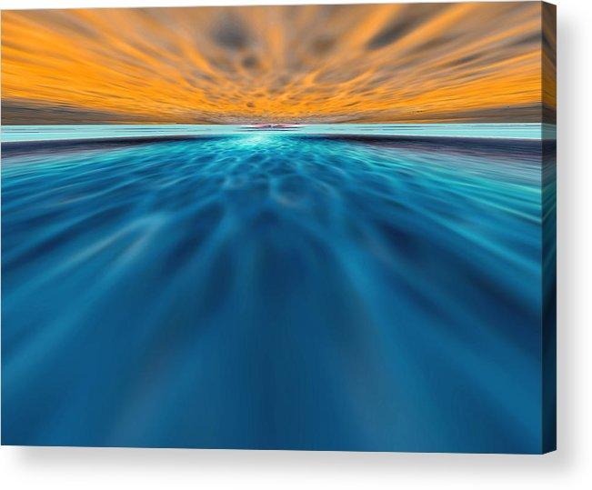 Sunset Acrylic Print featuring the digital art Floatplane Farewell by Greg Taylor
