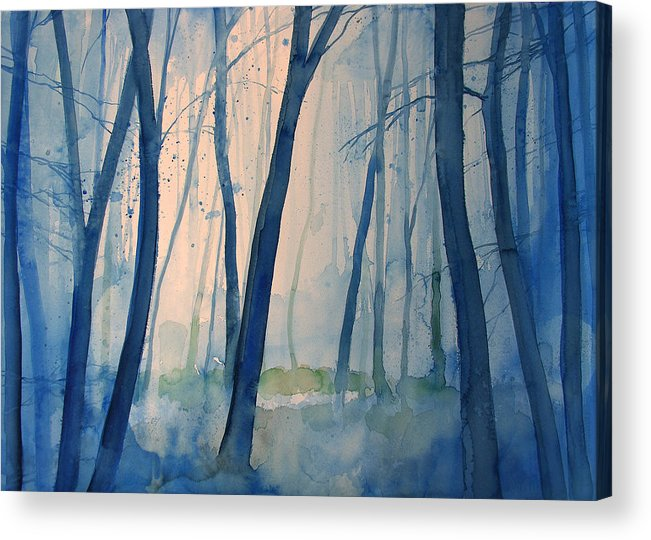 Tree Acrylic Print featuring the painting Fog In The Forest by Alessandro Andreuccetti