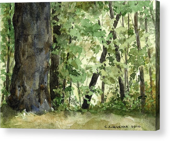 Forest Acrylic Print featuring the painting Forest by Svetlana Ledneva-Schukina