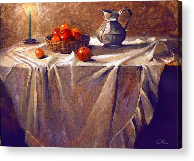 Still Life Acrylic Print featuring the painting Fruit By Candle Light by Nancy Griswold