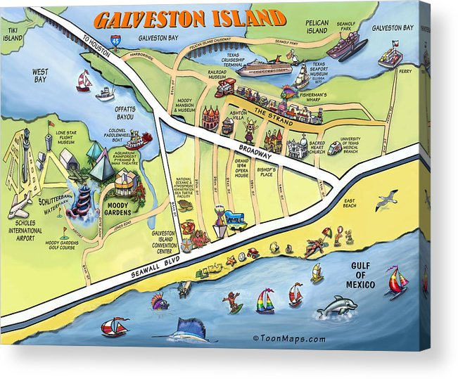 Galveston Acrylic Print featuring the digital art Galveston Texas Cartoon Map by Kevin Middleton