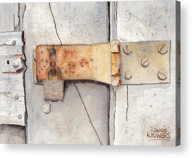 Lock Acrylic Print featuring the painting Garage Lock Number Two by Ken Powers