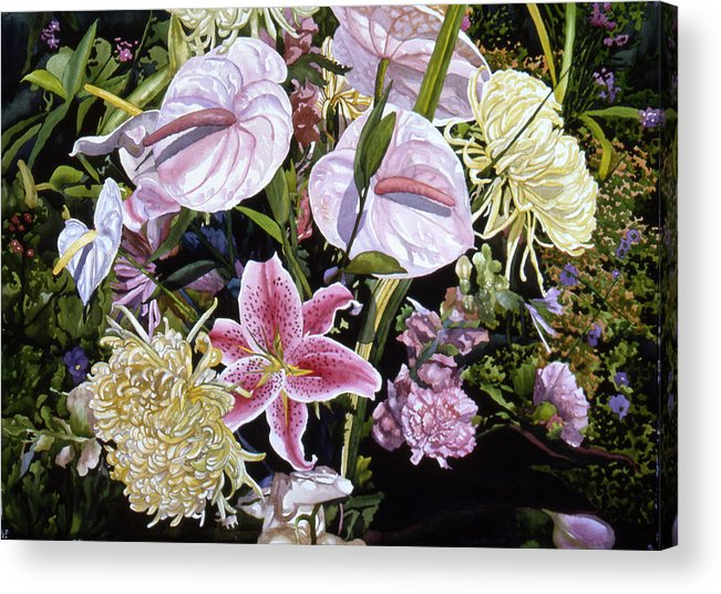Watercolor Acrylic Print featuring the painting Garden Song by Teri Starkweather